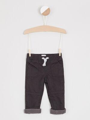 Pantalon coton uni taille elastiquee noir garcon