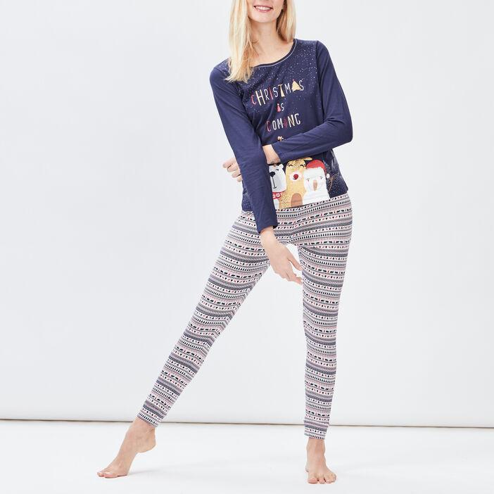 Ensemble pyjama 2 pièces femme bleu marine