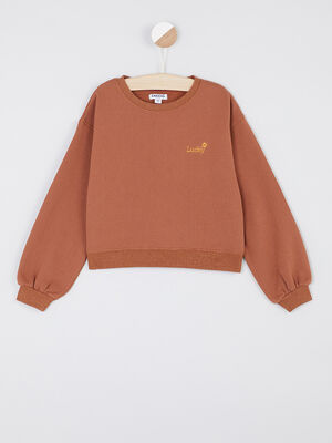 Pull Creeks marron cognac fille