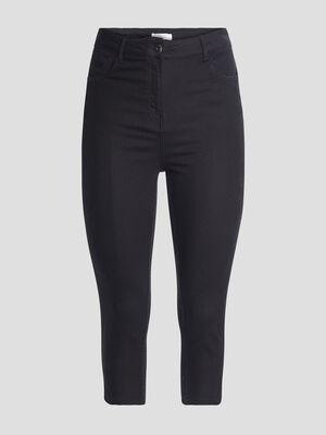 Pantalon corsaire slim noir femme