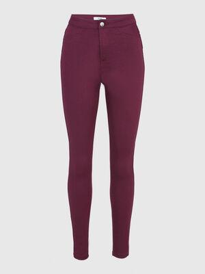 Pantalon uni coupe slim prune femme