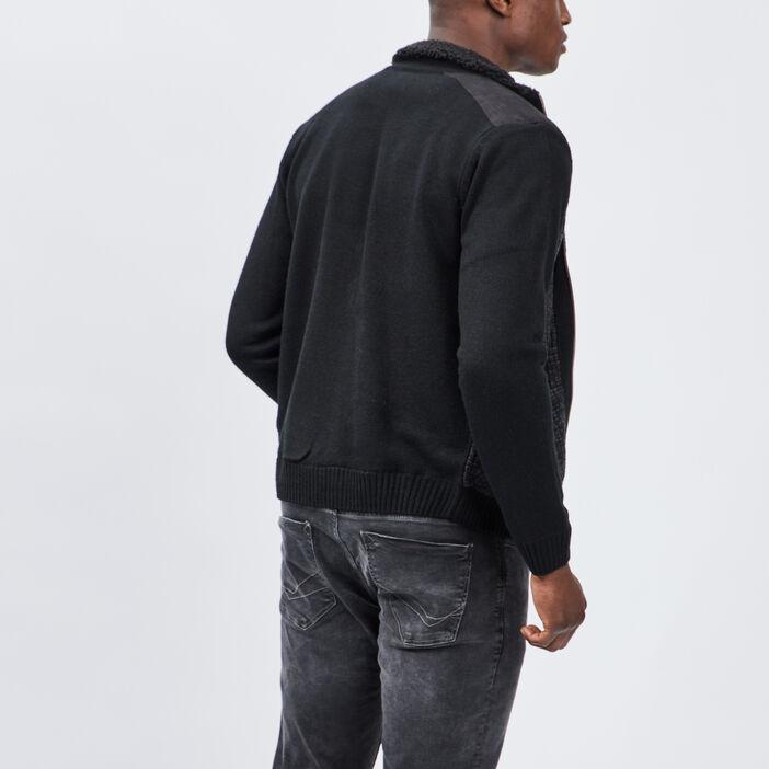 Gilet zippé avec col montant homme gris foncé