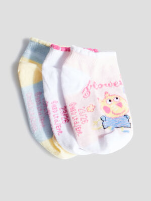 Lot 3 paires de socquettes Peppa Pig rose fille