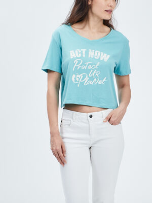 T shirt Liberto bleu turquoise femme