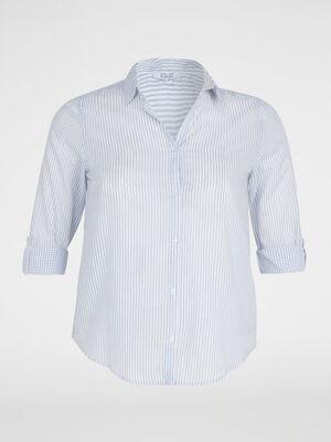 Chemise rayee en coton bleu femme