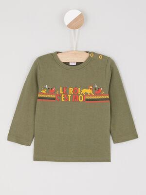 T shirt manches longues vert kaki garcon