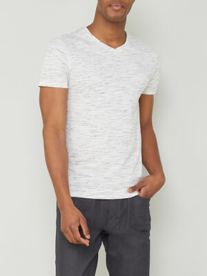 T shirt col en V coton ecru homme