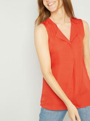 Chemise manches courtes orange corail femme