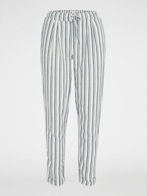 Pantalon large a rayures ecru femme