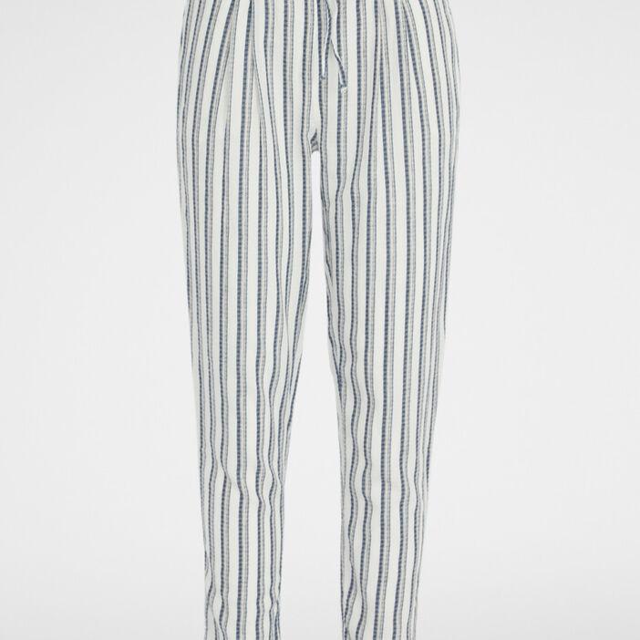 Pantalon large à rayures femme ecru