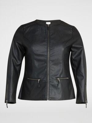 Blouson zippe style motard noir femme