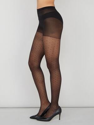 Collants en voile plumetis noir femme