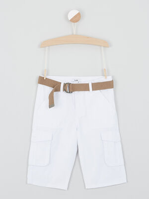 Short uni poches battle blanc garcon