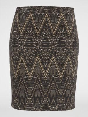 Mini jupe tube jacquard noir femme