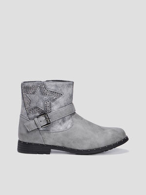 Bottines zippees cloutees gris fille