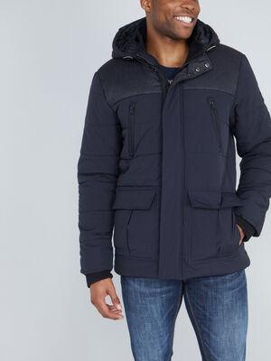 Manteau style doudoune a capuche gris fonce homme