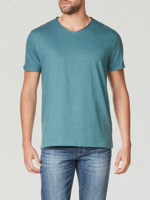 T shirt manches courtes col rond vert meraude homme