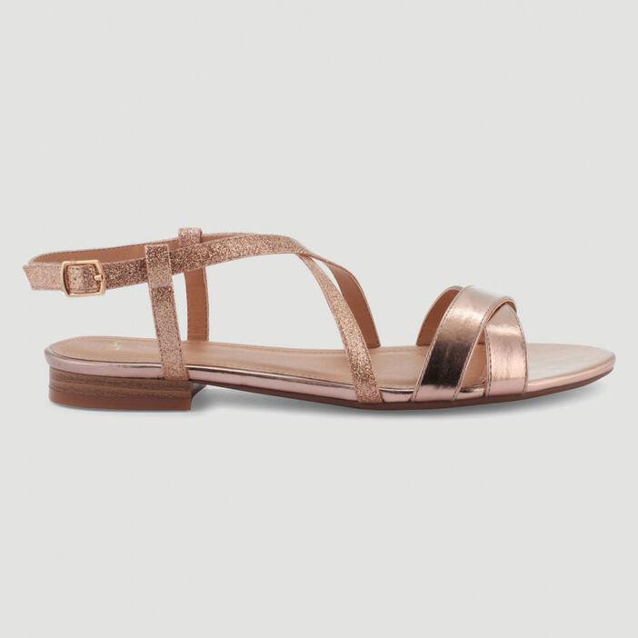 Sandales métallisées brides croisées femme couleur or