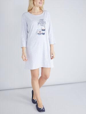 Chemise de nuit TCHIP gris femme