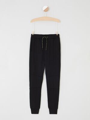 Pantalon droit a taille elastiquee noir garcon