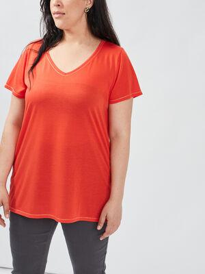 T shirt grande taille rouge corail femmegt