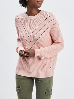 Pull manches longues ajoure rose femme