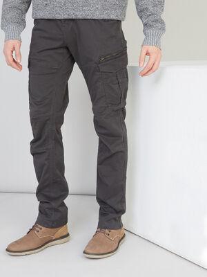 Pantalon droit multipoches gris fonce homme