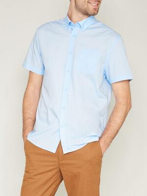 Chemise droite unie manches courtes bleu ciel homme