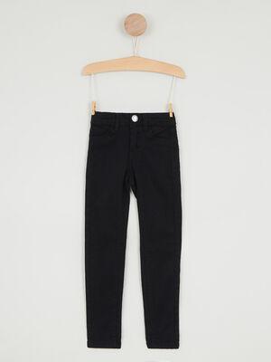 Pantalon uni coupe skinny noir fille
