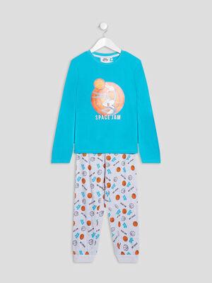 Ensemble pyjama Space Jam bleu turquoise garcon