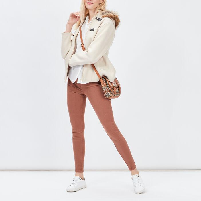 Manteau évasé avec capuche femme beige
