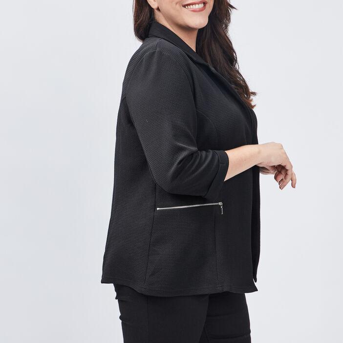 Veste droite grande taille femme grande taille noir
