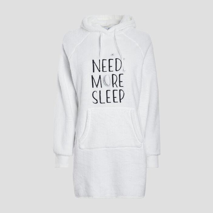 Chemise de nuit à capuche femme ecru
