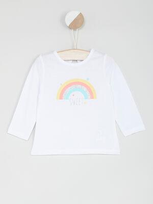 T shirt manches longues avec imprime blanc fille