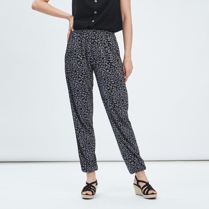 Pantalon droit fluide femme gris foncé