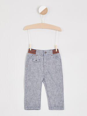 Pantalon en lin et coton gris fonce garcon