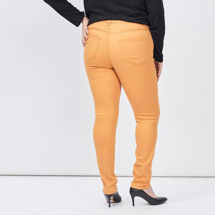 Pantalon slim grande taille femme grande taille jaune moutarde
