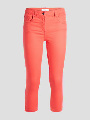 Pantacourt slim en jean orange corail femme