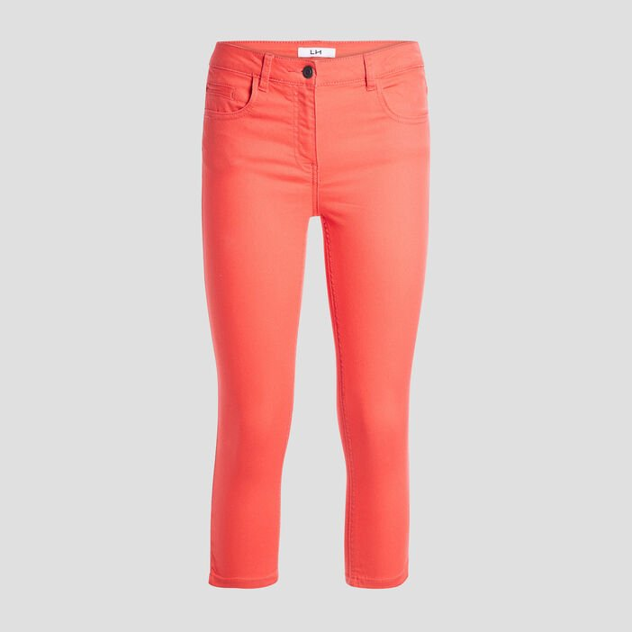 Pantacourt slim en jean femme orange corail