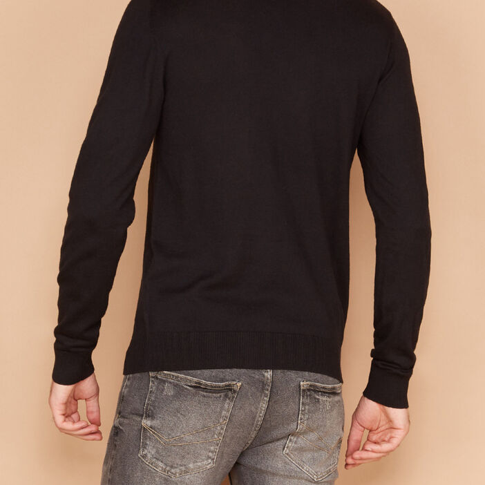 Pull col rond maille unie homme noir