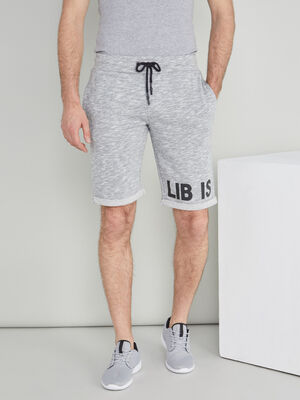 Bermuda chine en coton melange gris homme