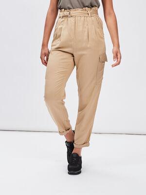 Pantalon battle fluide beige femme