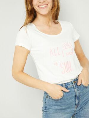 T shirt col rond a message ecru femme