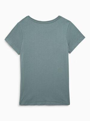 T shirt uni en coton vert fille
