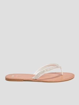 Sandales entre doigt strass blanc femme