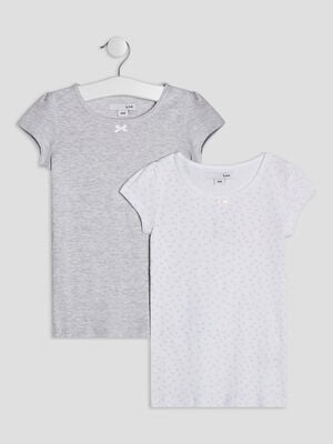 Lot 2 t shirts gris fille