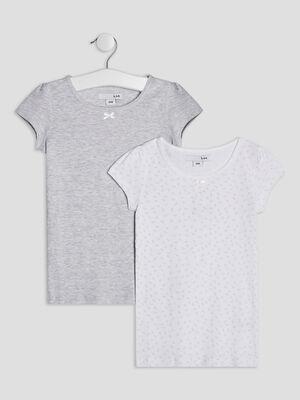 Lot 2 t shirts gris fille