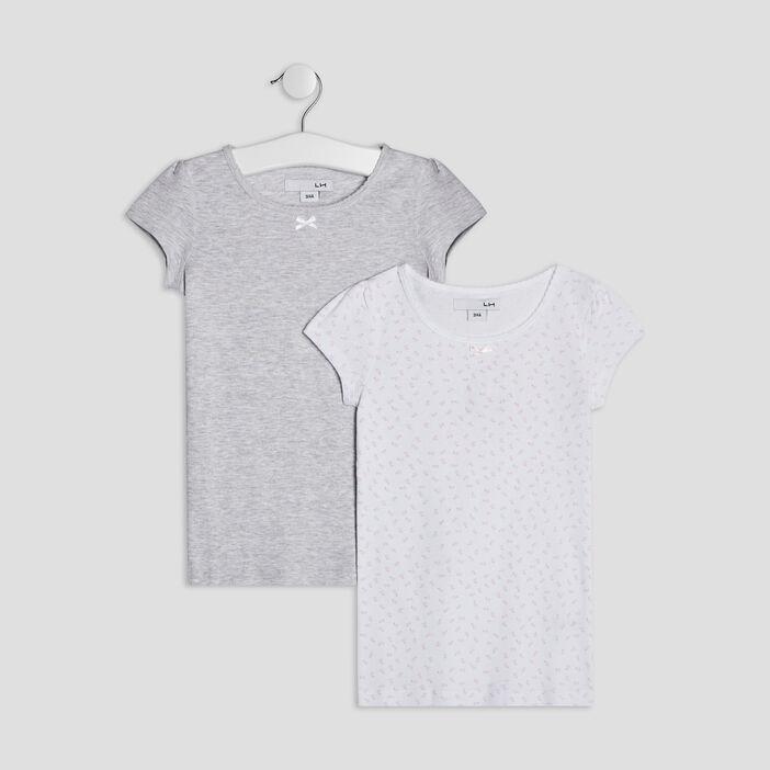 Lot 2 t-shirts fille gris