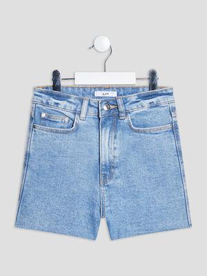 Short straight en jean taille ajustable denim used fille