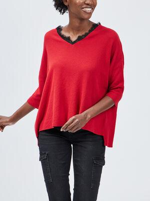 Pull cotele uni rouge femme